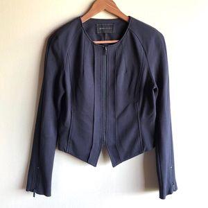 BCBGMaxAzria navy blue knit zip-front jacket